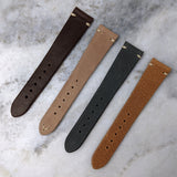 Vintage Style Calfskin Leather Watch Strap - Grey - GS&W