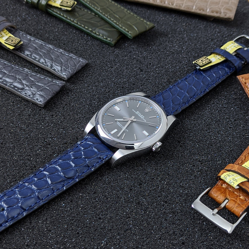 Louisiana Alligator Leather Watch Strap - Navy - GS&W