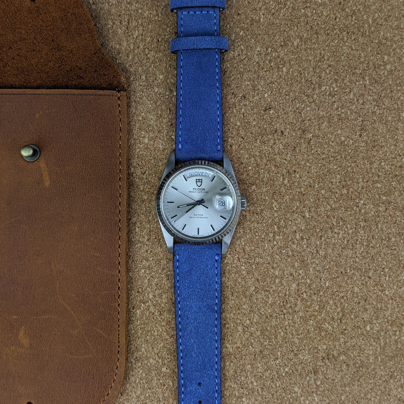 Suede Leather Watch Strap - Blue - GS&W
