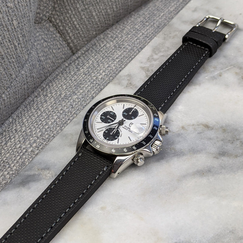 Coated Calfskin Leather Watch Strap - Black - GS&W