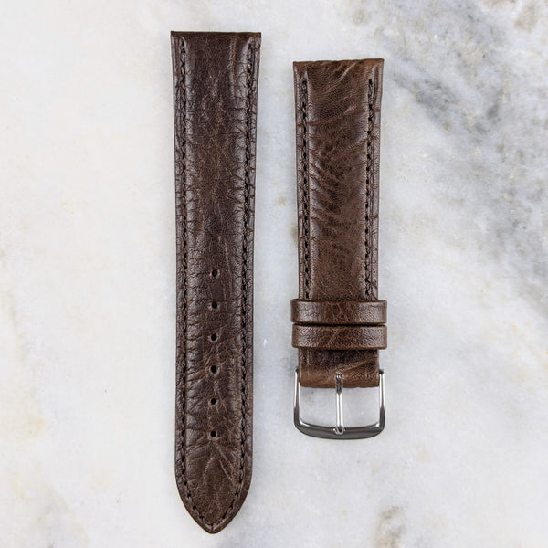 Calfskin Leather Watch Strap - Dark Brown - GS&W