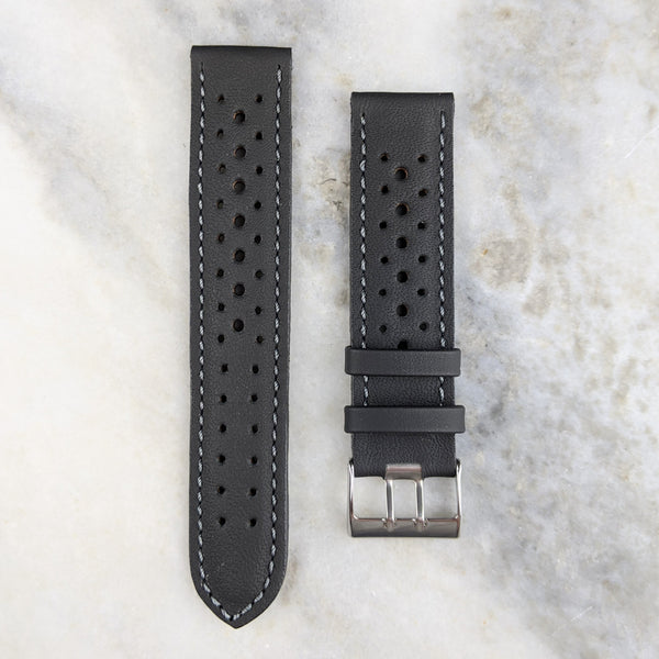 Calfskin Leather Racing Style Watch Strap - Black - GS&W