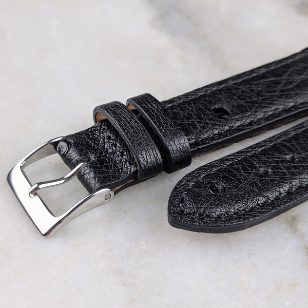 Ostrich Leather Watch Strap - Black - GS&W