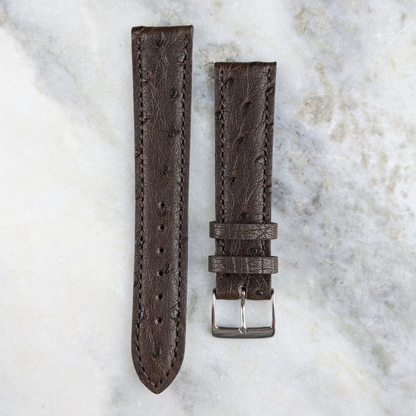 Ostrich Leather Watch Strap - Dark Brown - GS&W