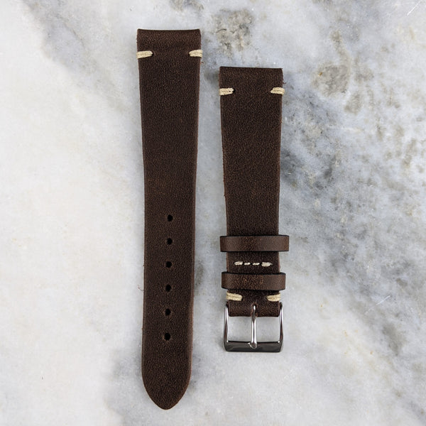 Vintage Style Calfskin Leather Watch Strap - Dark Brown - GS&W
