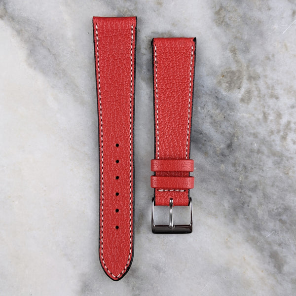 Goatskin Leather Watch Strap - Red - GS&W