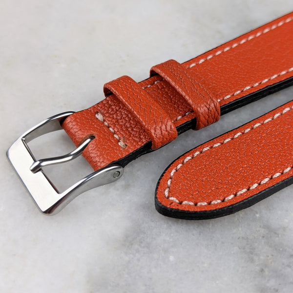 Goatskin Leather Watch Strap - Orange - GS&W