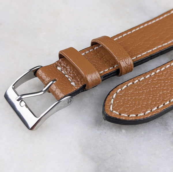 Goatskin Leather Watch Strap - Mid Brown - GS&W