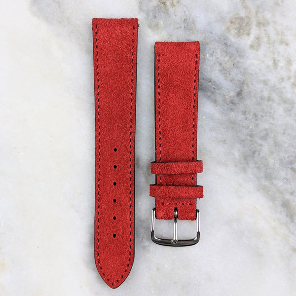 Suede Leather Watch Strap - Red - GS&W