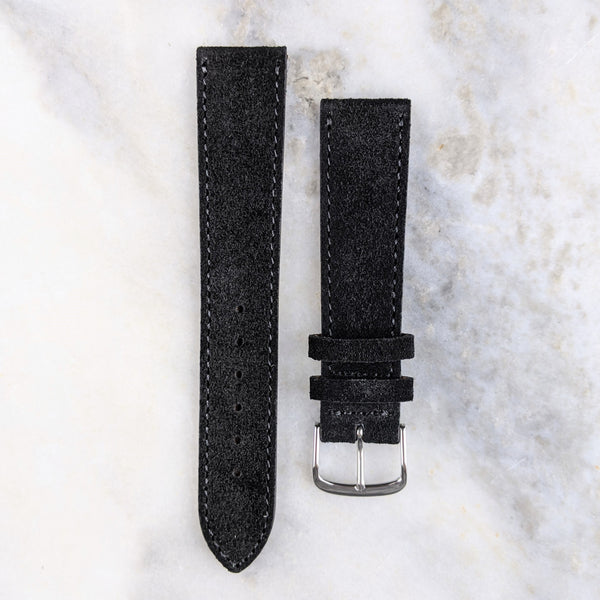 Suede Leather Watch Strap - Black - GS&W