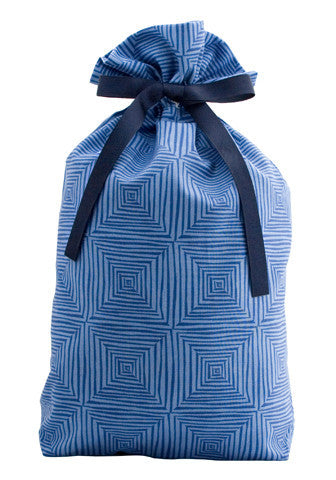 blue squared cloth gift bag
