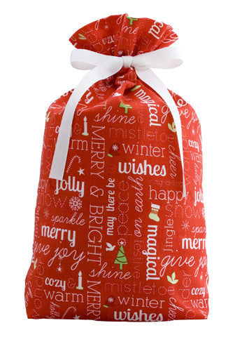 cheery chatter red cloth gift bag
