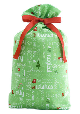 cheery chatter green cloth gift bag