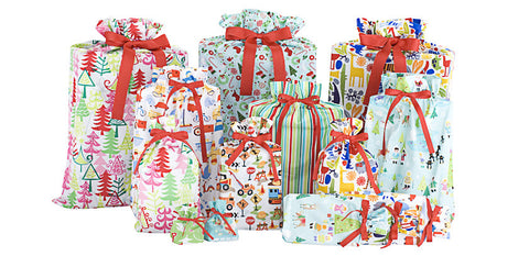 kids holiday set cloth gift bag