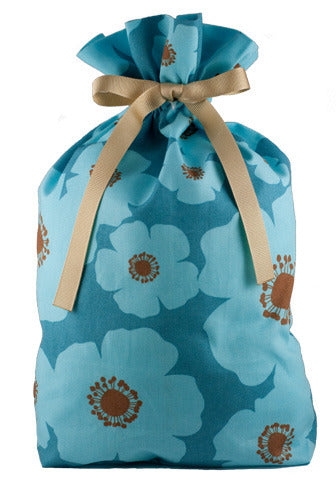 ORGANIC! big blue poppies cloth gift bag
