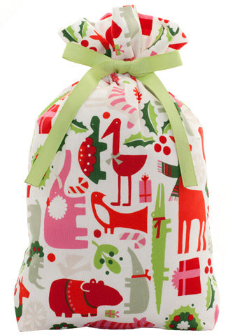 holiday menagerie cloth gift bag