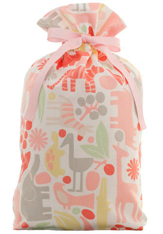 menagerie in pink cloth gift bag