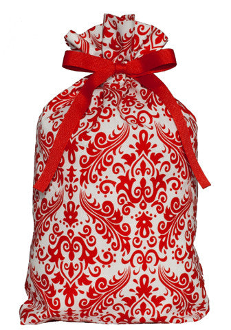 regal damask red cloth gift bag