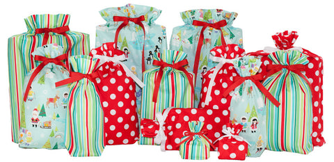 retro holiday set cloth gift bag