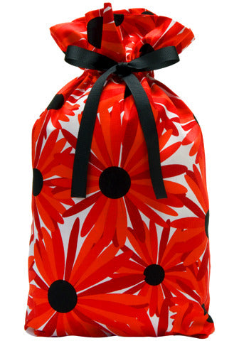 big red blooms cloth gift bag
