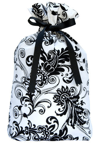 flourish in black and white cloth gift bag