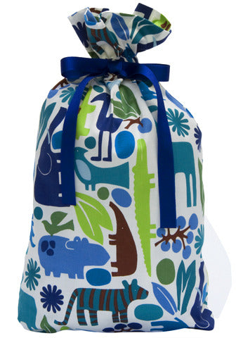 menagerie in blue cloth gift bag