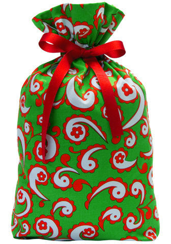 yuletide paisley cloth gift bag