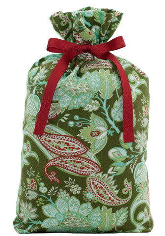 evergreen paisley cloth gift bag