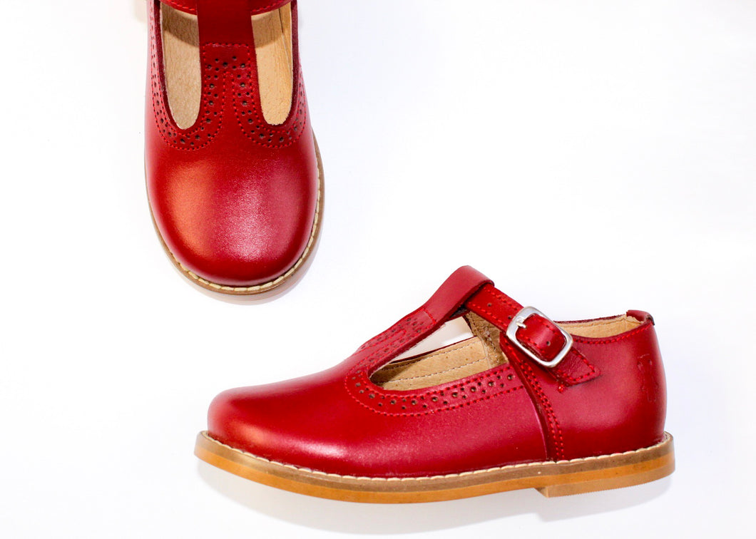 Women's Red T-Strap Shoes - Red Leather Shoes | Piccolo Shoes