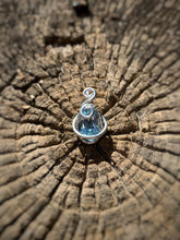 "Load image into Gallery viewer, 1"" Silver colored wire, Blue Topaz pendant"