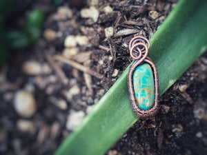 Light Blue Sky Song Turquoise Wrapped in Copper