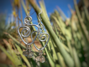 Silver colored Swirl Earring with Natural Labradorite