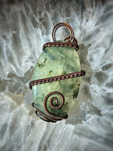Prehnite with Epidote wrapped in Copper