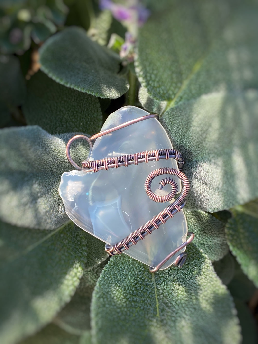 Agate wrapped in Copper