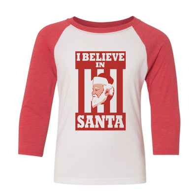 I Believe In Santa Youth Baseball Shirt - NashvilleTN Instagram