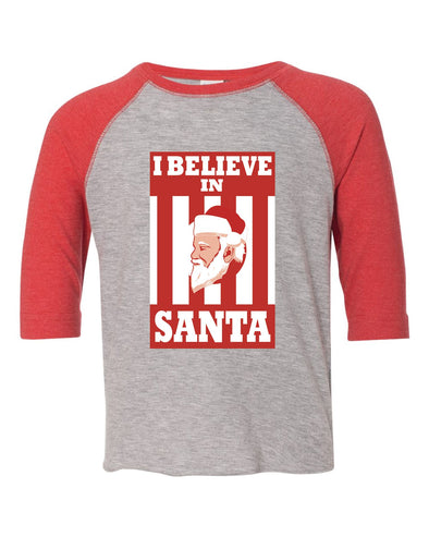 I Believe In Santa Toddler Baseball Shirt - NashvilleTN Instagram