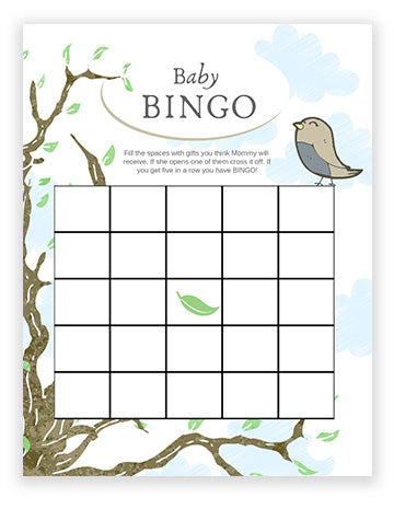 Baby Shower Bingo - Bird Theme Boy
