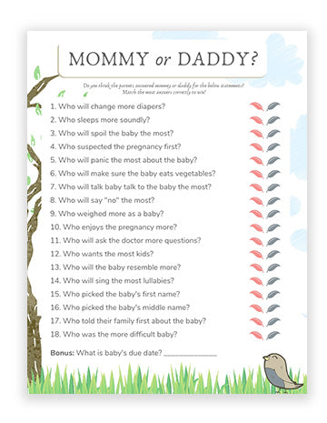Baby Shower Mommy Or Daddy Game - Bird Theme Boy