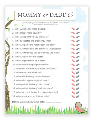 Baby Shower Mommy Or Daddy Game - Bird Theme Girl