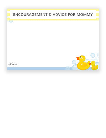Baby Shower Advice Cards - Rubber Duck Theme