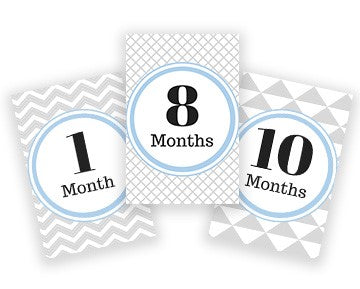Baby Milestone Cards - Blue & Gray