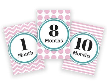 Baby Milestone Cards - Pink & Teal