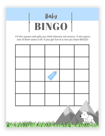 Baby Shower Bingo - Mountain Theme