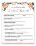 Bridal Shower How Well Do You Know Game - Rose Gold/Floral Theme