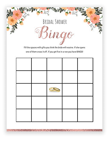 Bridal Shower Bingo - Rose Gold/Floral Theme