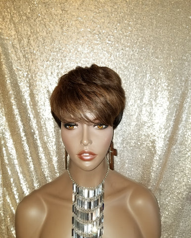 Short Pixie Cut Glueless Remy Human Hair Wig
