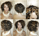 Curly Short Bob Style Brazilian Virgin Remy Human Hair Lace Wig