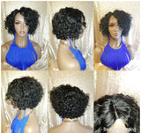 Curly Short Bob Brazilian Remy Human Hair Lace Wig