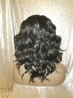 Soft Beach Wavy Lace Human Hair Blend Wig
