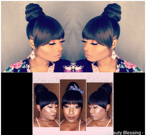 Bundle 2pcs Hair Ponytail Bun and Chinese Bang Set
